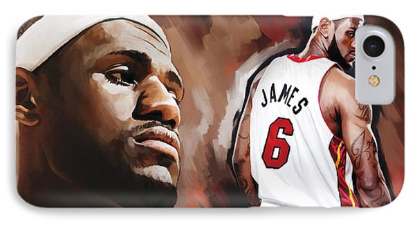 Lebron James Artwork 2 IPhone Case by Sheraz A