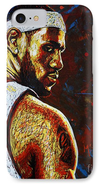 Lebron James iPhone 7 Case - Lebron  by Maria Arango