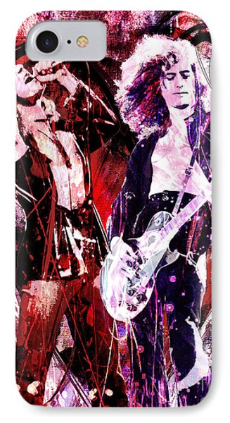Jimmy Page iPhone 7 Case - Led Zeppelin - Jimmy Page And Robert Plant by Ryan Rock Artist