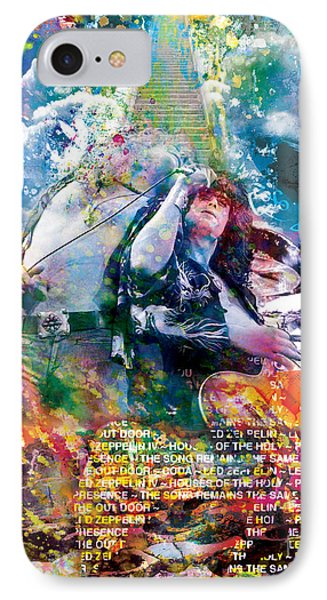 Led Zeppelin Original Painting Print  IPhone 7 Case by Ryan Rock Artist