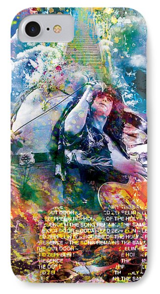 Led Zeppelin Original Painting Print  IPhone Case by Ryan Rock Artist