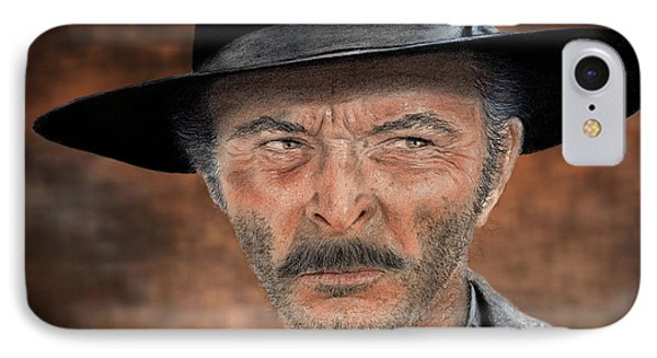Lee Van Cleef As Angel Eyes In The Good The Bad And The Ugly Version II IPhone Case by Jim Fitzpatrick