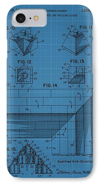 Lego Blocks Patent Drawing IPhone Case by Dan Sproul