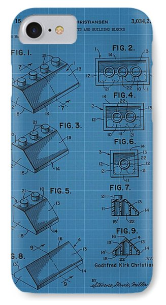 Lego Building Blocks Blueprint Patent IPhone Case by Dan Sproul