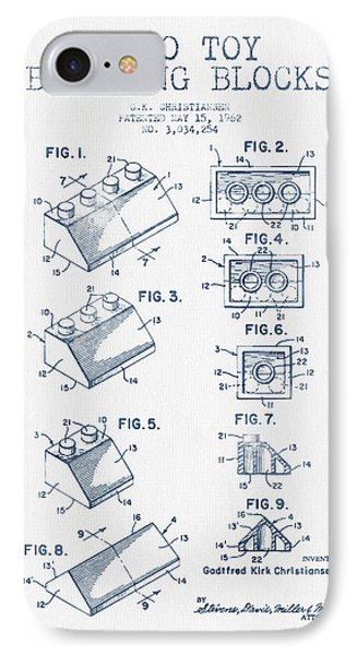 Lego Toy Building Blocks Patent - Blue Ink IPhone Case by Aged Pixel