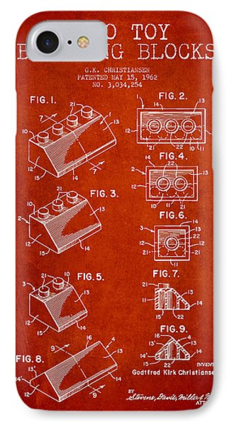 Lego Toy Building Blocks Patent - Red Phone Case by Aged Pixel