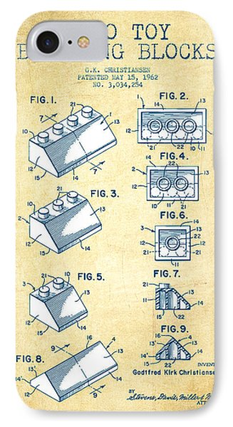 Lego Toy Building Blocks Patent - Vintage Paper IPhone Case by Aged Pixel
