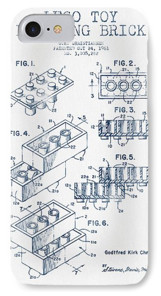 Lego Toy Building Brick Patent - Blue Ink IPhone Case by Aged Pixel