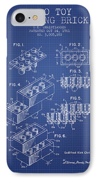 Lego Toy Building Brick Patent From 1961 - Blueprint IPhone Case by Aged Pixel