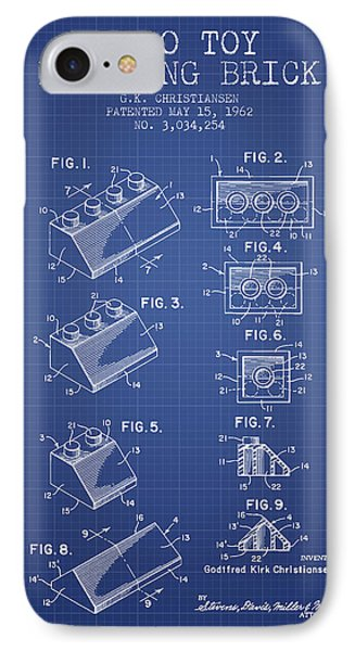 Lego Toy Building Brick Patent From 1962 - Blueprint IPhone Case by Aged Pixel