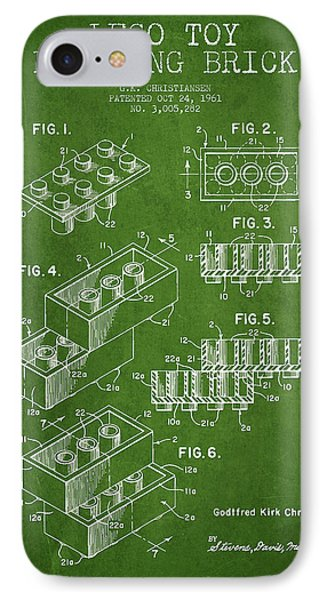 Lego Toy Building Brick Patent - Green Phone Case by Aged Pixel