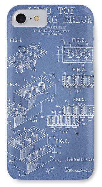 Lego Toy Building Brick Patent - Light Blue IPhone Case