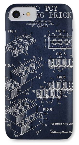 Lego Toy Building Brick Patent - Navy Blue Phone Case by Aged Pixel