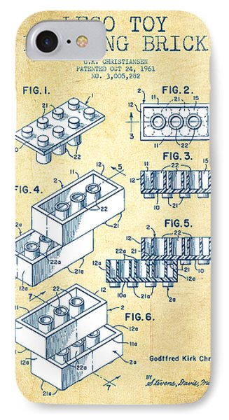 Lego Toy Building Brick Patent - Vintage Paper IPhone Case by Aged Pixel