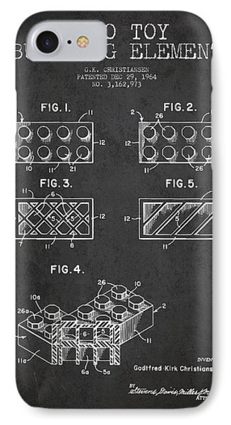 Lego Toy Building Element Patent - Dark Phone Case by Aged Pixel