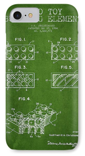 Lego Toy Building Element Patent - Green Phone Case by Aged Pixel