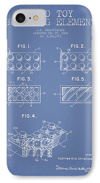 Lego Toy Building Element Patent - Light Blue IPhone Case by Aged Pixel