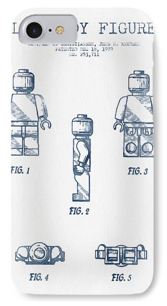 Lego Toy Figure Patent - Blue Ink IPhone Case by Aged Pixel