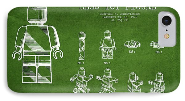 Lego Toy Figure Patent Drawing From 1979 - Green Phone Case by Aged Pixel