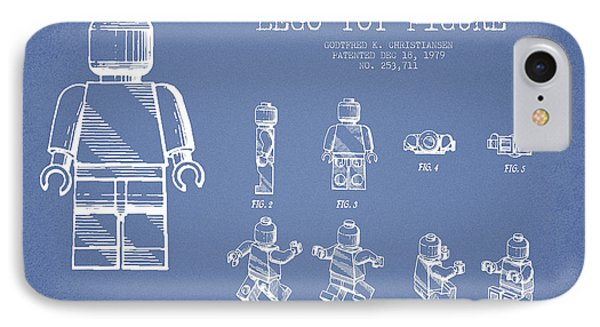 Lego Toy Figure Patent Drawing From 1979 - Light Blue Phone Case by Aged Pixel