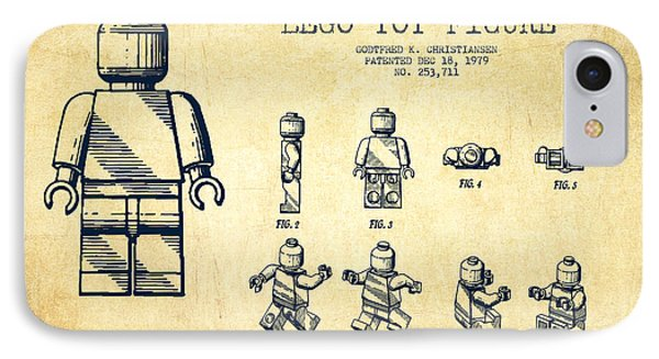 Lego Toy Figure Patent Drawing From 1979 - Vintage Phone Case by Aged Pixel