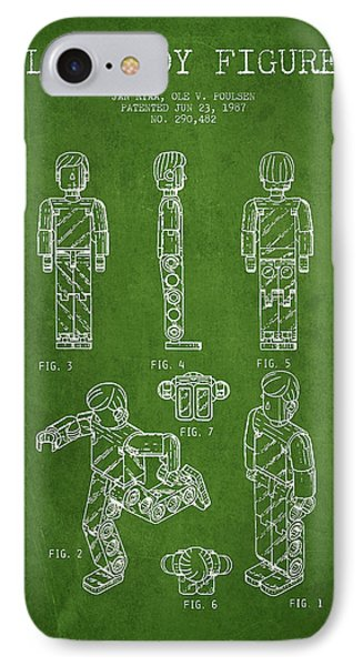 Lego Toy Figure Patent - Green Phone Case by Aged Pixel