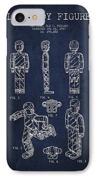 Lego Toy Figure Patent - Navy Blue Phone Case by Aged Pixel