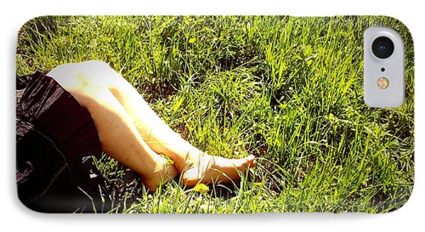Legs Of A Woman And Green Grass IPhone Case by Matthias Hauser