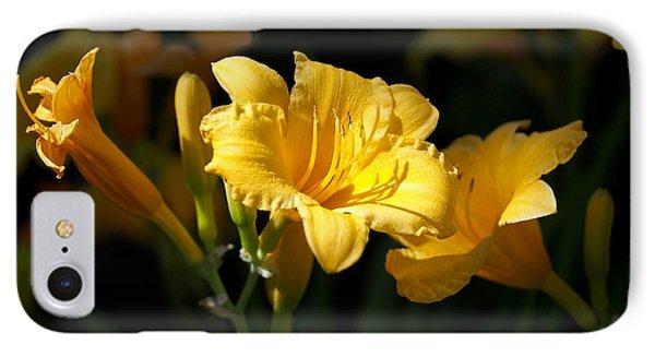 Lemon Yellow Daylilies Phone Case by Rona Black