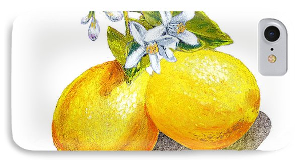 IPhone 7 Case featuring the painting Lemons And Blossoms by Irina Sztukowski
