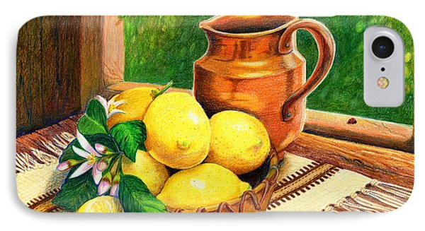 Lemons And Copper Still Life IPhone Case by Marilyn Smith