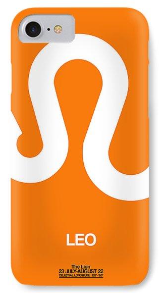 Leo Zodiac Sign White On Orange IPhone Case
