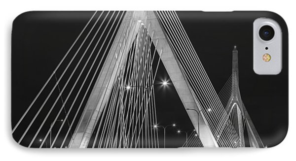 Leonard P. Zakim Bunker Hill Memorial Bridge Bw IPhone Case by Susan Candelario