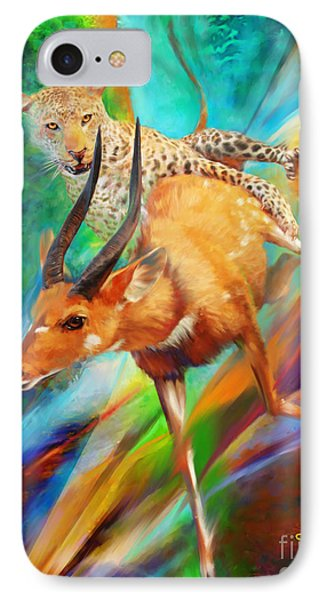IPhone Case featuring the painting Leopard Attack by Rob Corsetti