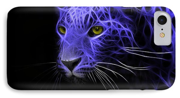 Leopard Fractal Blue IPhone Case by Bruno Santoro