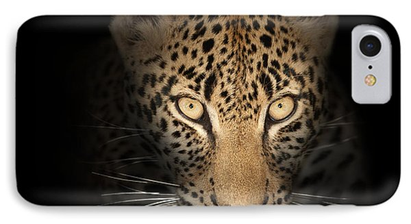 Leopard In The Dark IPhone Case by Johan Swanepoel