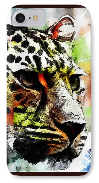 IPhone Case featuring the painting Leopard - Leopardo by Zedi