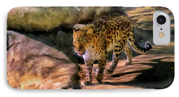 IPhone Case featuring the painting Leopard by Michael Pickett