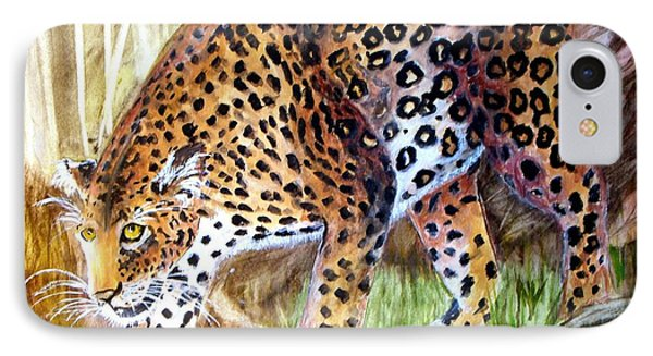 Leopard On The Loose IPhone Case by Carol Grimes