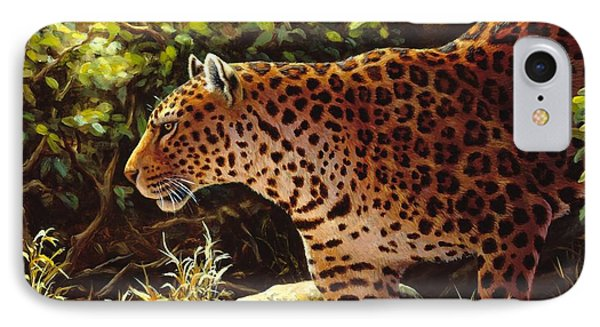 Leopard Painting - On The Prowl IPhone Case by Crista Forest