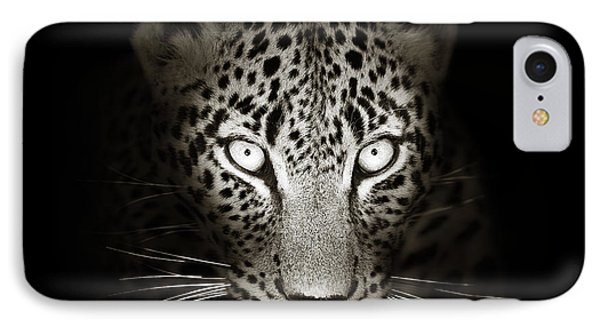 Leopard Portrait In The Dark IPhone Case by Johan Swanepoel