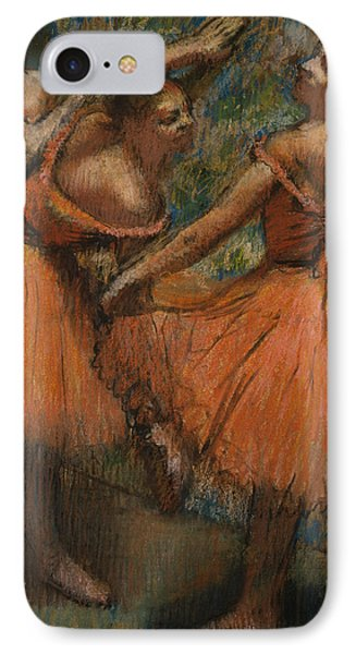 Les Jupes Rouge IPhone Case by Edgar Degas