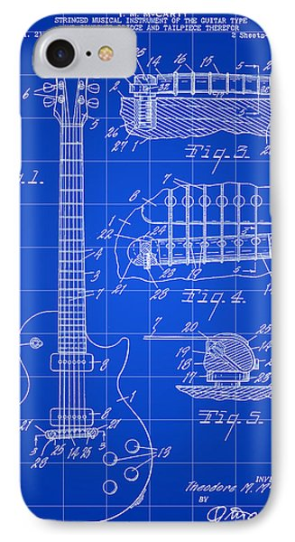 Les Paul Guitar Patent 1953 - Blue IPhone Case by Stephen Younts