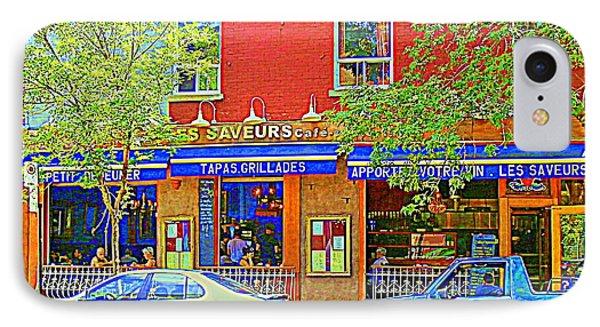 Les Saveurs Tapas Grillades Apportez Votre Vin Montreal Cafe Art Scene By Carole Spandau Phone Case by Carole Spandau