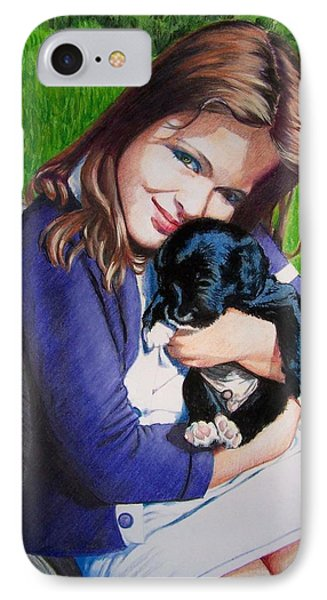IPhone Case featuring the mixed media Leslie And Sergeant by Constance Drescher