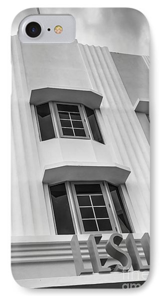 Leslie Hotel South Beach Miami Art Deco Detail 2 - Black And White Phone Case by Ian Monk