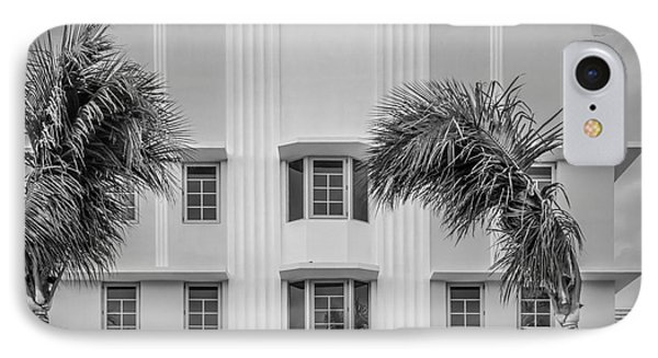 Leslie Hotel South Beach Miami Art Deco Detail 3 - Black And White Phone Case by Ian Monk