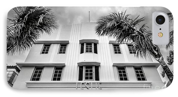 Leslie Hotel South Beach Miami Art Deco Detail - Black And White Phone Case by Ian Monk