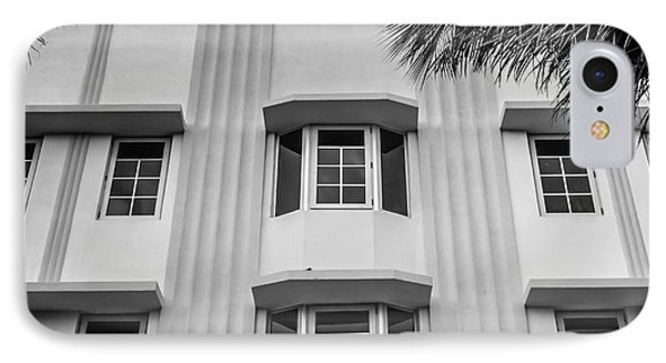 Leslie Hotel South Beach Miami Art Deco Detail - Square - Black And White Phone Case by Ian Monk