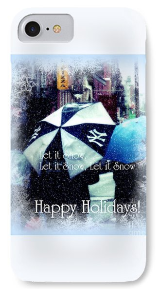 Let It Snow - Happy Holidays - Ny Yankees Holiday Cards IPhone Case by Miriam Danar